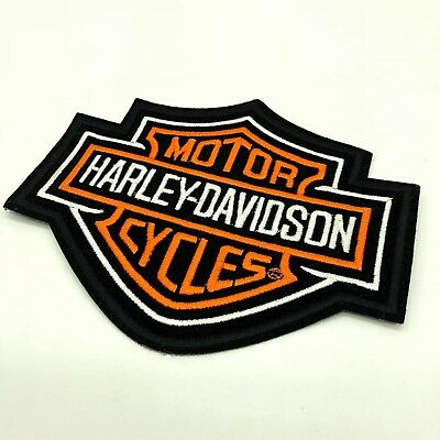 "Harley Davidson Motor Cycles Global Products Patch 6"" X 4"" Black Orange Logo"