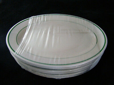 "6 Buffalo China 2 Green Stripes Platters New Unused 10 1/2"" x 7 1/8"""