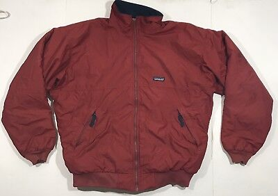Patagonia Men's Vintage Fleece Lined Nylon Bomber Jacket Made in USA - XL Red