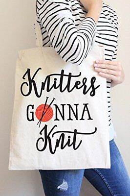 Knitters Gonna Knit Tote Bag Cotton Casual Hand Bag Shopping Bag