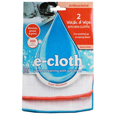 E-Cloth 2pc Wash & Wipe Kitchen Cleaning Cloths/Duster/Towels/Wipe Orange & Blue