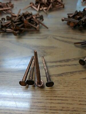 "50  VINTAGE ANTIQUE NOS Solid Copper Square Shank Cut ""Clench"" Nails 1-3/4"" L"