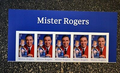 2018USA #5275 Forever Mister Rogers - Header strip of 5  Mint NH