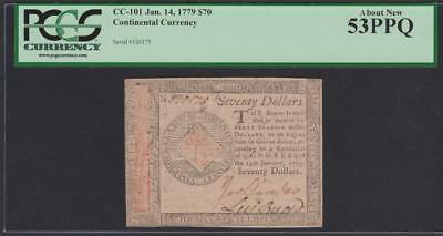 CC-101 *** PCGS AU53 PPQ *** $70.00 Jan. 14, 1779 Continental Colonial Currency