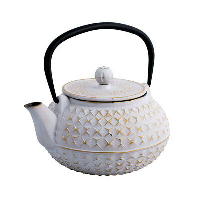 Avanti 900ml Empress Cast Iron Teapot White/Gold Tea/Coffee Kettle w/ Strainer