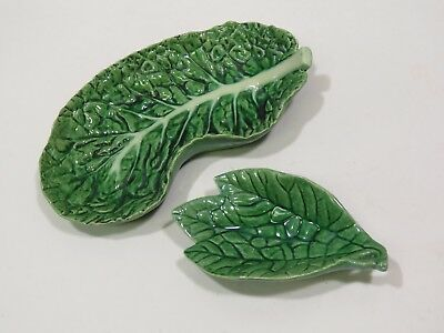 2 Early Bordallo Pinheiro Cabbage Leaf Dishes Pre WWII Embossed Logo Majolica