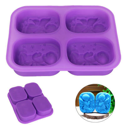 4 Grids Prayer Angels Silicone Soap Mold Cake Fondant Chocolate Mould Bakeware