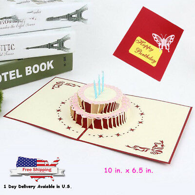 3D Pop Up Greeting Card Happy Birthday Cake Best Wishes Gift for Friends Family