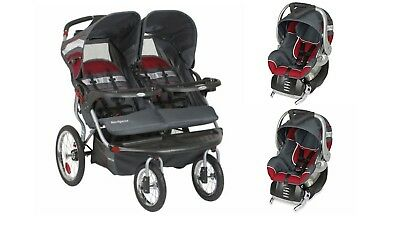 Baby Trend Double Jogger Stroller Two Car Seats Included