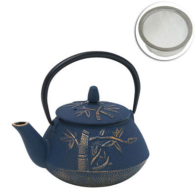 Avanti 800ml Bamboo Cast Iron Teapot Tea/Coffee Kettle Navy/Bronze w/ Strainer