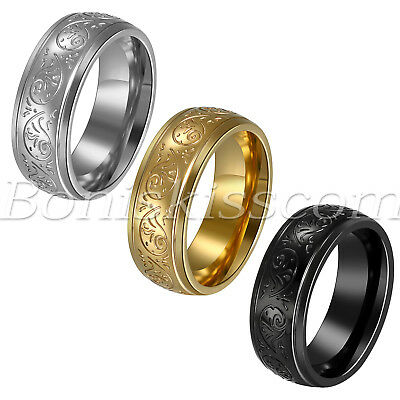Mens Vintage Stainless Steel Engraved Florentine Comfort Kit Ring Band Size 7-13