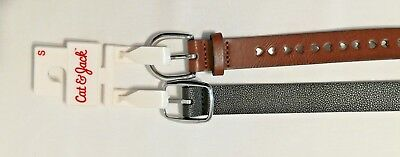 Lot Of 2 Girl's Belts Size S Black, Brown with hearts By Cat & Jack