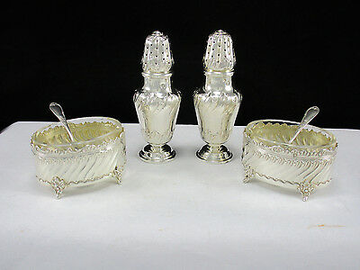 Antique French 950 Sterling Silver Salt Cellars Pepper Shakers & Spoons 250 Gram