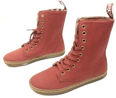 17528df7c45 DR MARTENS STRATFORD Womens Shoes Boots High Ankle Canva Cherry Red Size 6