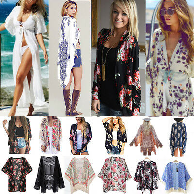 Women Chiffon Kimono Blouse Coat Boho Floral Cardigan Beach Bikini Cover Up Tops