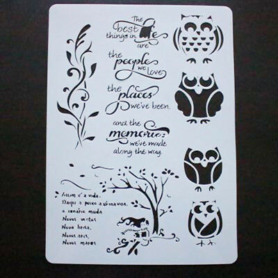 Cute Owls Plastic Airbrush Template Drawing Painting Stencils Templates For DIY