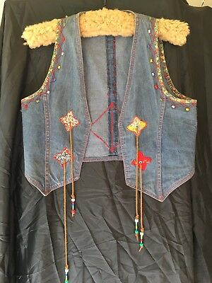 Denim vest with leather, beading, cross stitch and patchwork trim. Size 10