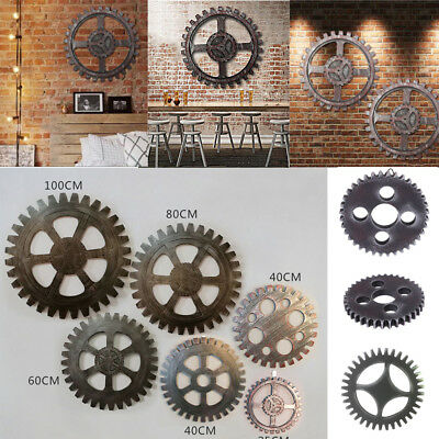 1PC Vintage Wooden Gear Wall Art Industrial Antique Vintage Chic Home Bar Decor