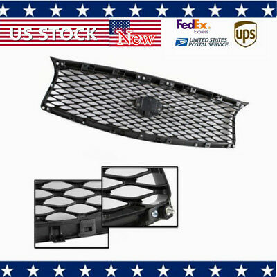 High Gloss Black Front Mesh Upper Grill Replacement Fit For 14-17 Infiniti Q50