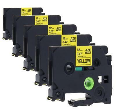 TZe631 TZe-631 Label Tape Compatible for Brother P-touch Black on Yellow 5pk
