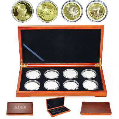 Oak Coin Wood Case Display Box Wooden Storage Collection Holders for 8 Coins