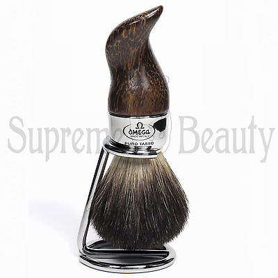 Pennello Da Barba In Tasso Nero Con Supporto Barbiere Barber Shop Omega 6537.15
