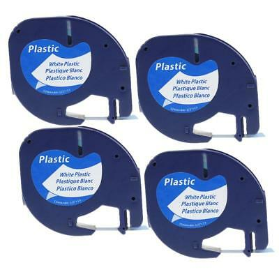 LetraTag 91331 91221 Compatible for DYMO White Plastic Label Tape 12mm 4 Pack