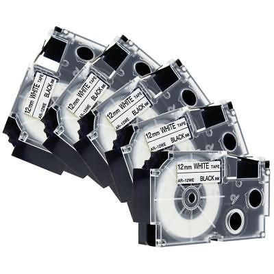 XR-12WE Label Tape Compatible for Casio Black on White 12mm KL100 KL120 5 Pack