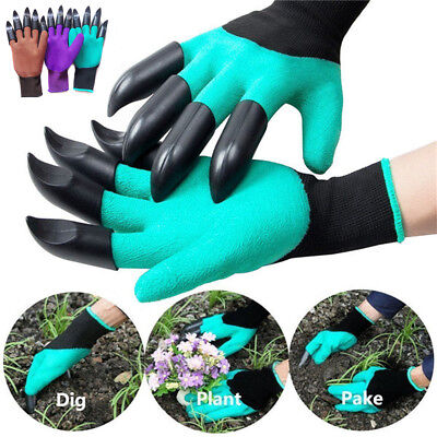 2Pcs Gardening Digging Gloves Planting Rubber Left/Right Hand Claws Grip Gloves