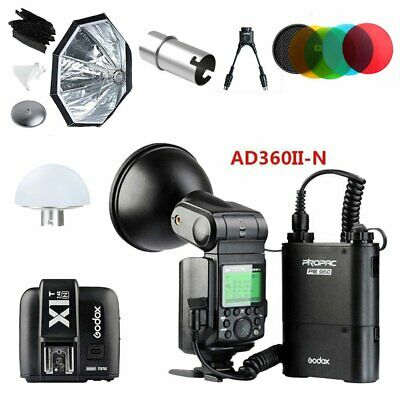 Godox AD360II-N TTL HSS Flash + X1T-N, Softbox, Colorfilter, Y Cable, Blub Cover