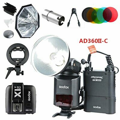 Godox AD360II-C TTL Flash + X1T-C Trigger +  Bracket Softbox Filter Cover Cable