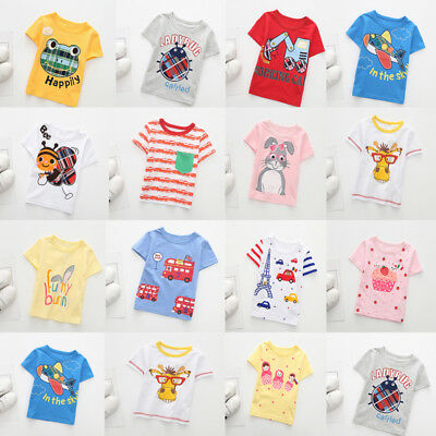Summer Toddler Baby Kids Boy Girl Casual T Shirts Cartoon Tops Outfit Clothes PK