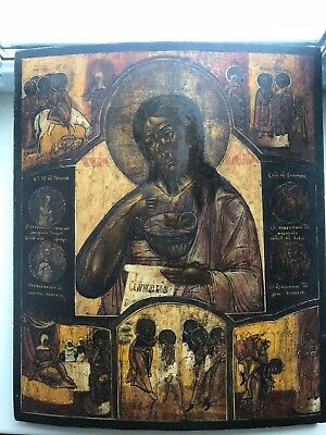"Antique 19c Russian Orthodox Hand Painted Wood Icon ""John the Baptist in a life"""