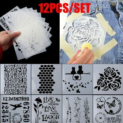 12pcs/set Scrapbooking Walls Painting Embossing Template Layering Stencils