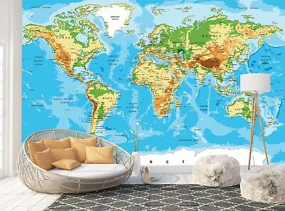 Wall Mural Photo Wallpaper Picture EASY-INSTALL Fleece Geographical World Map