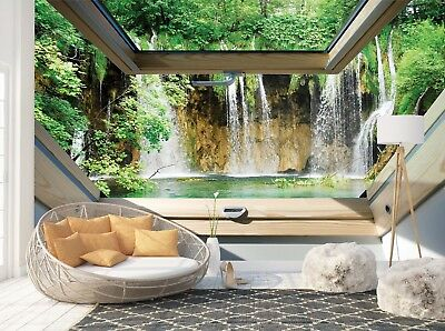 Wall Mural Photo Wallpaper Picture EASY-INSTALL Fleece 3D Waterfall Window View
