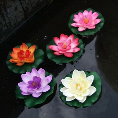 Artifical Lotus Water Lily Floating Flower Plant Garden Pond Tank Decor 10cm New