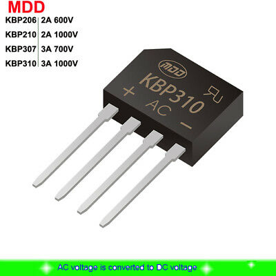 New KBP Series KBP206/210/307/310 Diode Bridge Rectifier 2A 3A 600/700/1000V