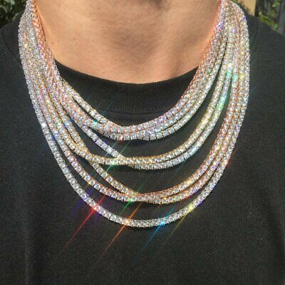 "One Row Iced Out Gold Silver 20"" Necklace Tennis Chain Bling Jewellery"