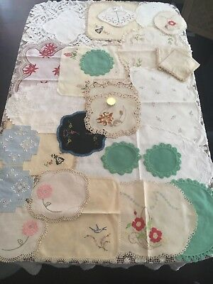 Bulk Lot Of 28 Beautiful Vintage Embroidered Doilies Excellent Condition