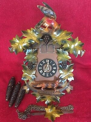 Vintage Fox & Grape German Black Forest Musical Cuckoo  Clock Complete