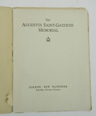 The Augustus Saint Gaudens Memorial Vintage Book Cornish NH Guide Book Vintage