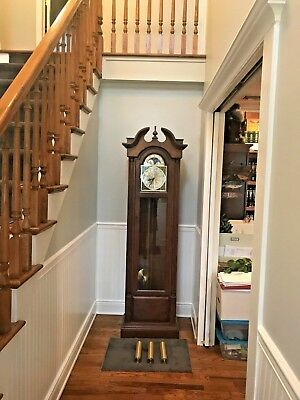 Vintage Seth Thomas Grandfather Clock - Cherry Wood - 3 Tubes