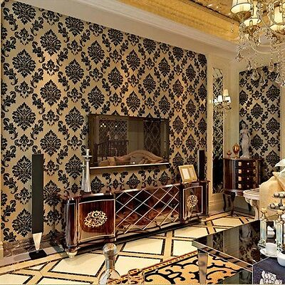 10m Velvet 3D Wallpaper Damascus Bedroom TV Black Flocking Exquisite embossed