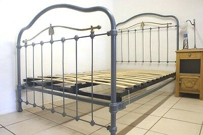 1930s French Bed Grey Blue + Slatted Base RENOVATED Small Double 4 ft Metal Iron