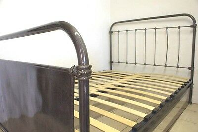 French Antique Industrial Bed Double Iron Frame Renovated Includes Slatted BASE