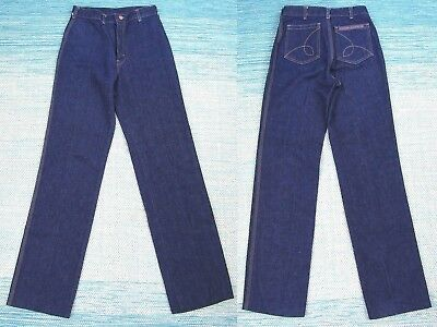 Vtg 70s High Waist Wide Leg Jeans 30 Womens Rainbow Dark Wash Disco Hippie