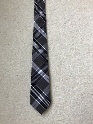 "Boys Crewcuts 52"" Black white gray plaid cotton  Tie"
