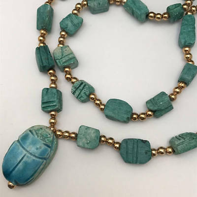 LONG Vintage Deco Egyptian revival gold tone Faience scarab Beaded Necklace