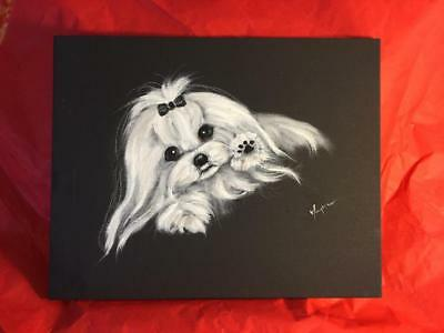 Maltese With Paw Up Original Painting